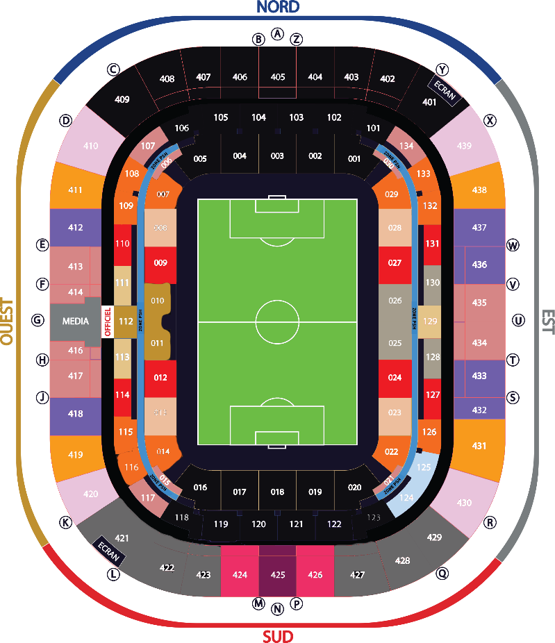 Plan du Stade avec les tarifs Coupe de la Ligue
