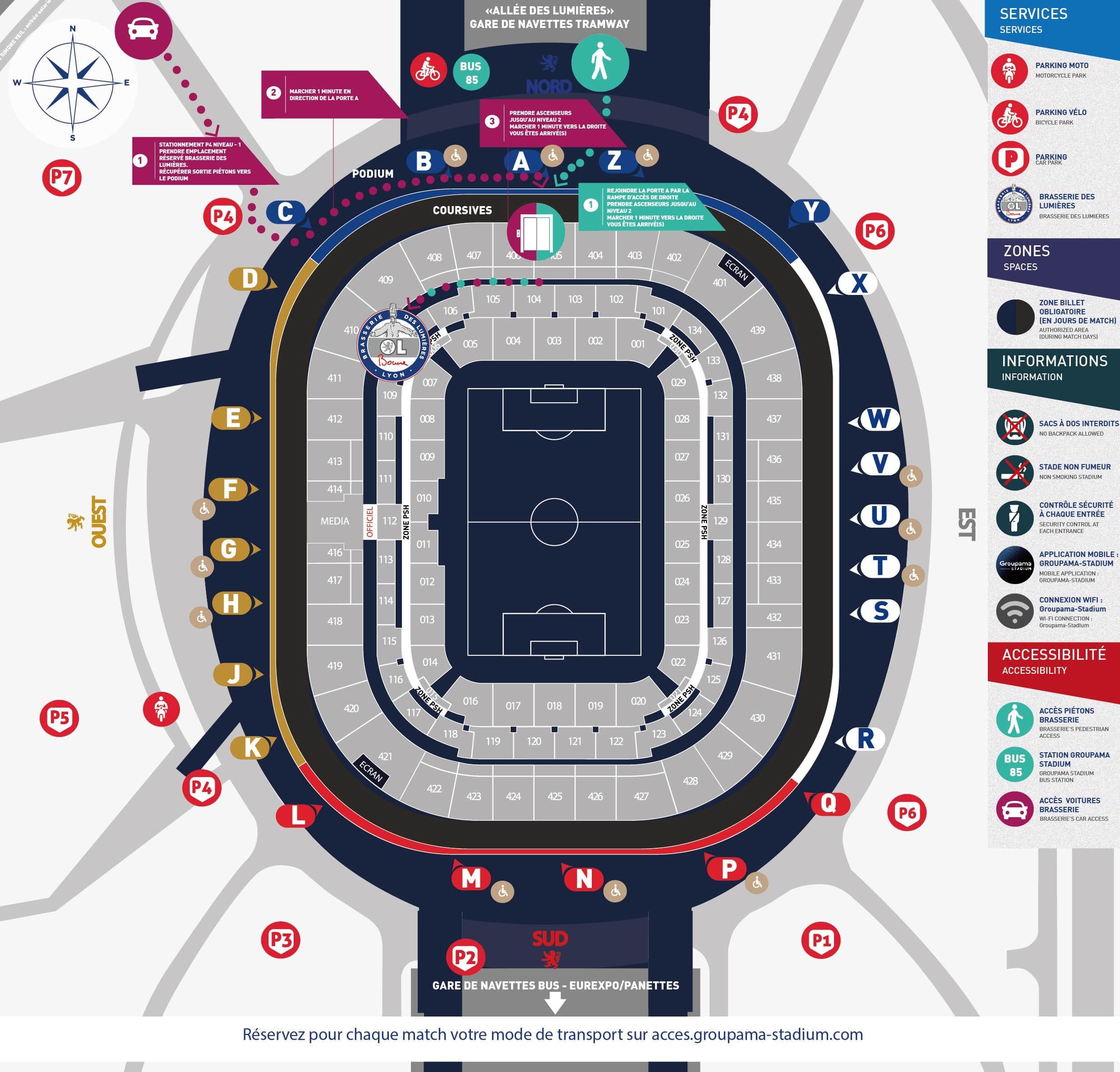 ol nice vos acc s au groupama stadium parkings stade. Black Bedroom Furniture Sets. Home Design Ideas